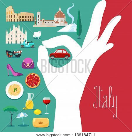 Italy vector illustration with Italian flag colors and excellent hand sign. Visit Italy concept nonstandard design with Italian landmars as icons set