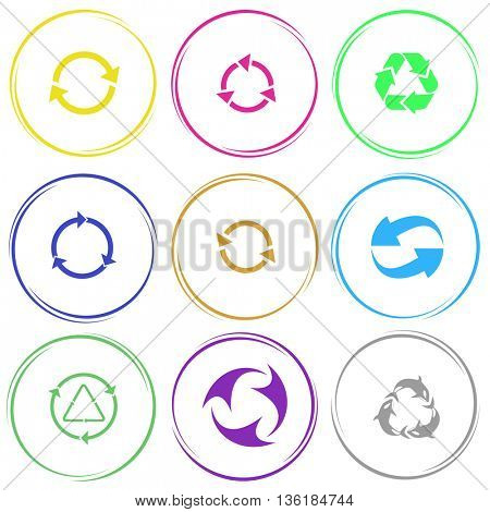 9 images of recycle symbol, killer whale. Recycle symbols set. Internet button. Vector icons.