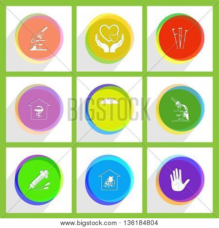 9 images: crutches, lab microscope, stop hand, love in hands, umbrella, nursing home, pharmacy, syringe. Medical set. Internet template. Vector icons.