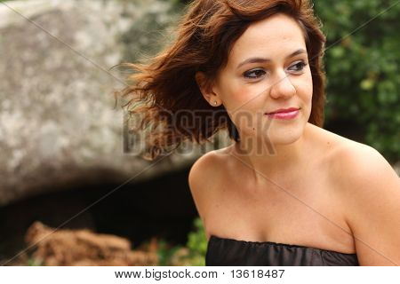 Beautiful girl standing outdoors