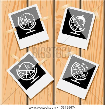 4 images: globe, and clock, and shamoo, and recycling symbol. School globe set. Photo frames on wooden desk. Vector icons.