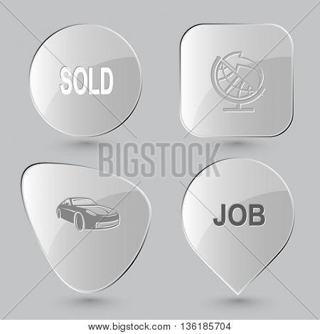 4 images: sold, globe and arrow, car, job. Business set. Glass buttons on gray background. Vector icons.