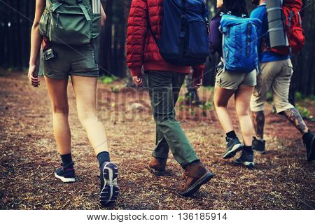 Camping Friendship Walking Backpacker Direction Concept