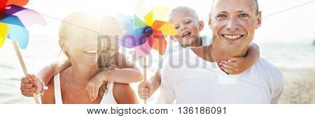 Family Happiness Beach Tropical Paradise Fun Concept
