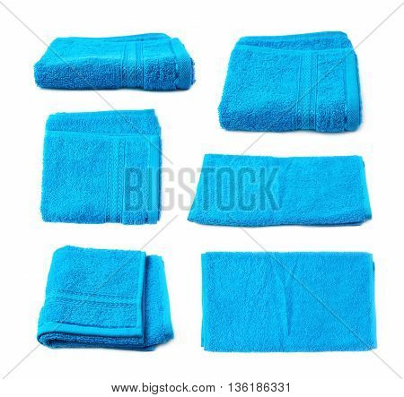 Single terry cloth towel isolated over the white background, set collection of six different foreshortenings