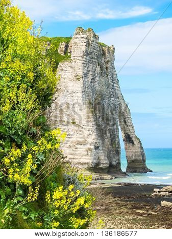 Cote d'Albatre or Alabaster Coast is part of the French coast of the English Channel. Famous cliff Porte d'Aval. Etretat, France