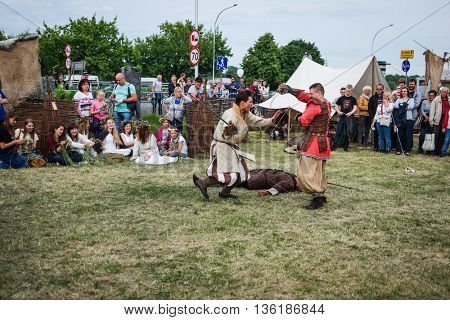Warsaw, Poland - 20 June 2015: traditional fights on midsummer holiday fest