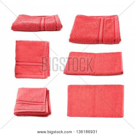 Single red terry cloth towel isolated over the white background, set collection of six different foreshortenings