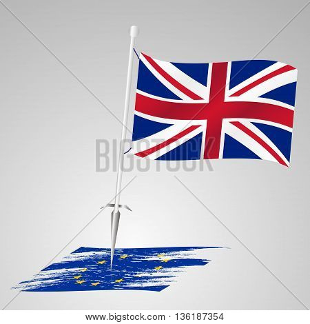 Color United Kingdom Flag European Union Flag Killing Eps10