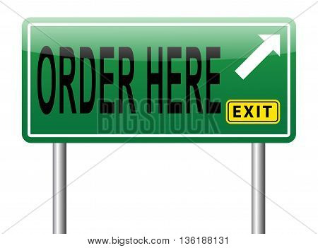 place your online order here road sign