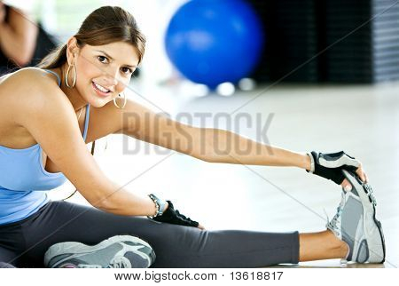 beautiful woman portrat at the gym smiling