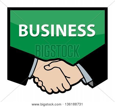 Business handshake with text Business, vector illustration