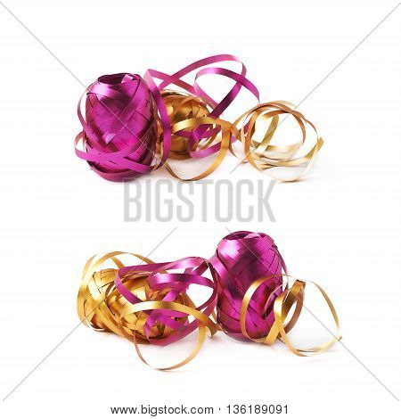 Pile of glossy ribbon reels partly unwrapped, composition isolated over the white background, set collection of two diffirent foreshortenings