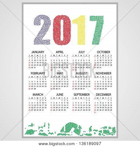 2017 Wall Calendar From Little Numbers Eps10