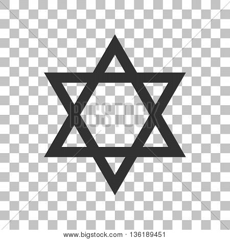Shield Magen David Star. Symbol of Israel. Dark gray icon on transparent background.
