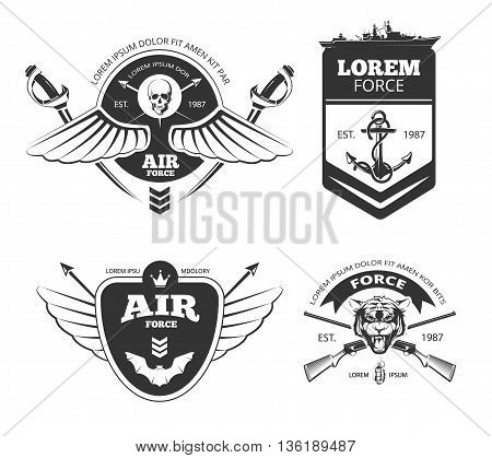 Military, armored vehicles, airforce, navy vintage vector labels, logos, emblems set. Navy and airforce emblem, vintage label navy and airforce, navy logo, banner airforce  insignia illustration
