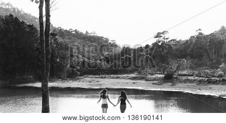 Couple Trip Togetherness Friendship Happiness Concept