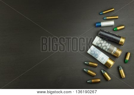 New shotgun shells, various types and caliber, isolated on white background. Sales of sporting ammunition. Advertising for the sale of ammunition.