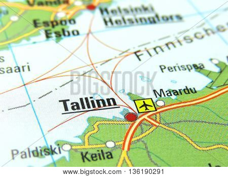 Map with focus set on Talinn, Estonia.