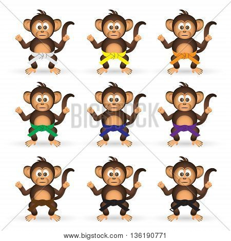 Cute Chimpanzee Set With Karate Training Color Belts Little Monkey  Eps10