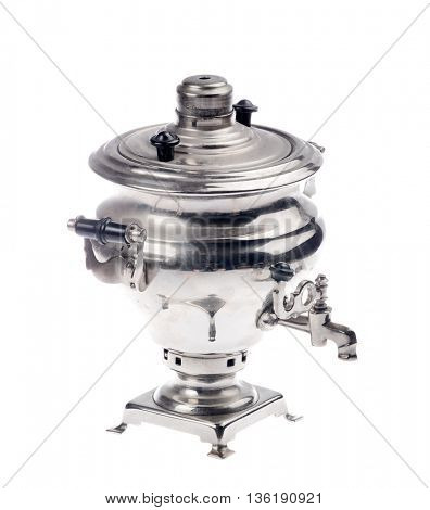 old silver samovar isolated on white background