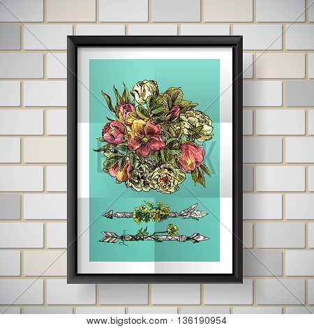 Beautiful hand drawn poster boho flowers. Decorative floral illustration with flowers of roses.