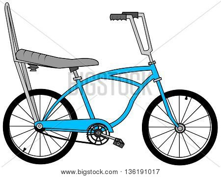 Illustration of a sting ray style bicycle with a banana seat and raised handlebars.