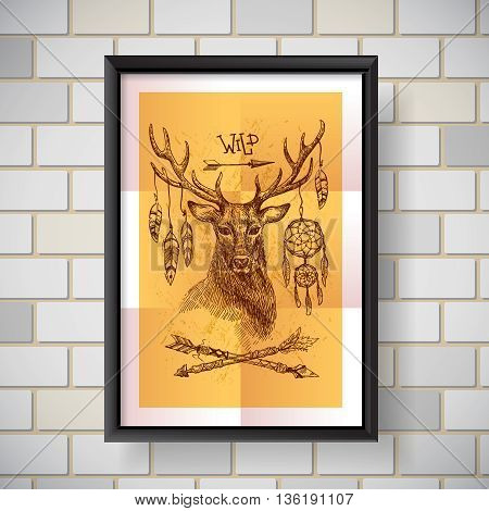 Hand drawn illustration deer. Sketch of deer. Beautiful hand drawn poster  boho style.