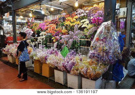 Street Flowers Vendor In In Chatuchak Market In Bangkok