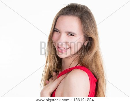 Pretty Woman In Red Dress Smiling At The Camera