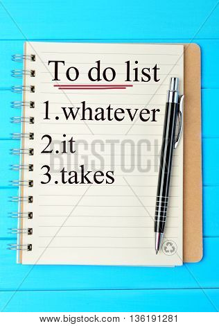 The words To do list on notebook