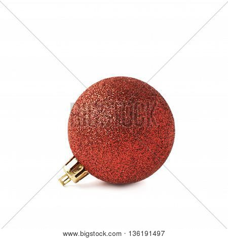 Single red Christmas tree ball decoration isolated over the white background