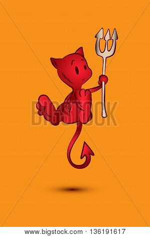 Little Red Devil. A devil cartoon character illustration. Halloween character. orange backgraund.