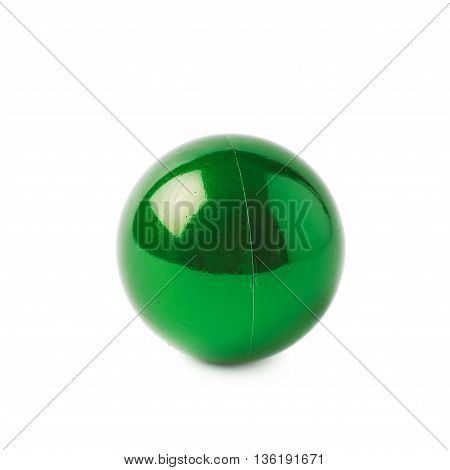 Single green Christmas tree ball decoration isolated over the white background
