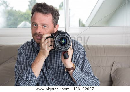 Close Up Happy Good Looking Young Male Photographer Taking Picture