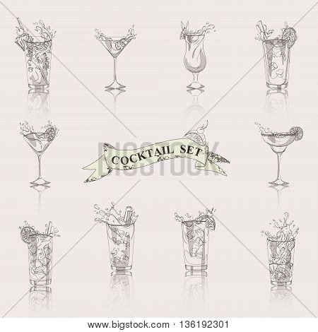 vector set of hand-drawn cocktails on a white background
