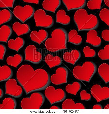 Red Valentine Hearths Symbol Seamless Dark Pattern Eps10