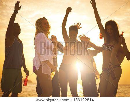 People having fun on beach party.