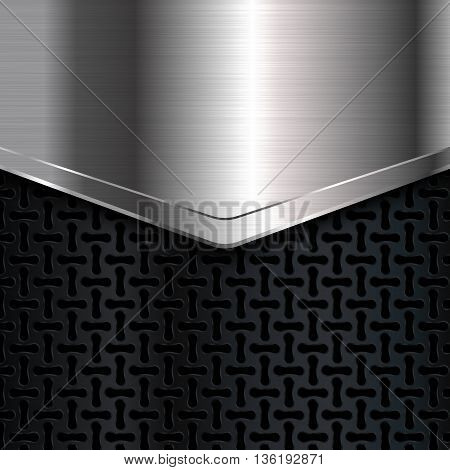 Metal background, Black and silver metallic background, Metal grid, Vector illustration