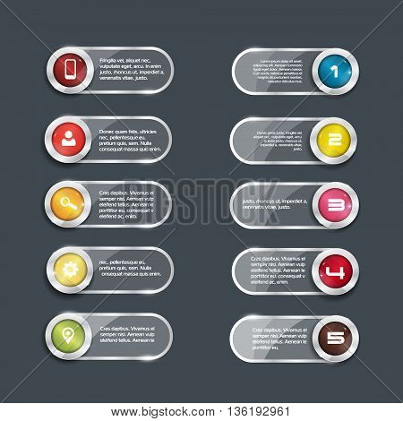 Vector buttons for your design, round color elements with glass surface. ten icons. place for text