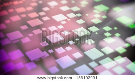 3D rendering of colorful cubes flying over black background