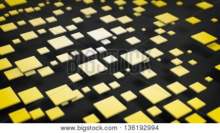 3D rendering of yellow cubes over black background
