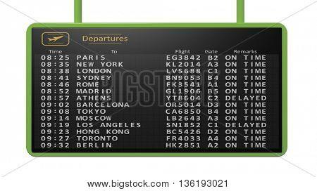 3D rendering of airport timetable of international flights