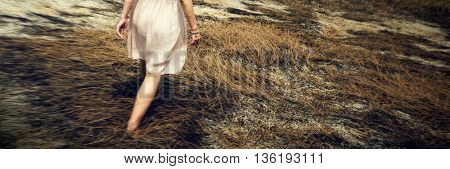 Female Outdoors Stroll Walking Free Concept
