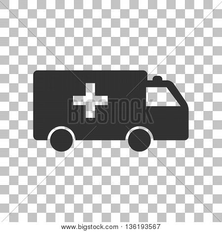 Ambulance sign illustration. Dark gray icon on transparent background.