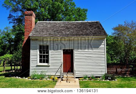 Raleigh North Carolina - April 18 2016: Small wooden outer dependency building at historic Mordecai Plantation  *