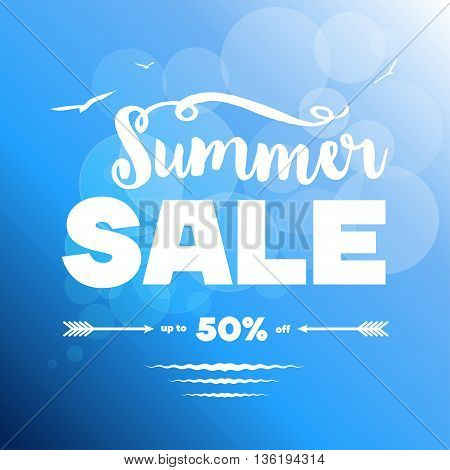 Summer sale banner. Vector illustration. White decorated text vs blue background with light circles sea waves seagulls. Sample text. Layered editable.