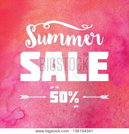 Summer sale banner. White decorated text against pink watercolor background. Trendy lettering banner.