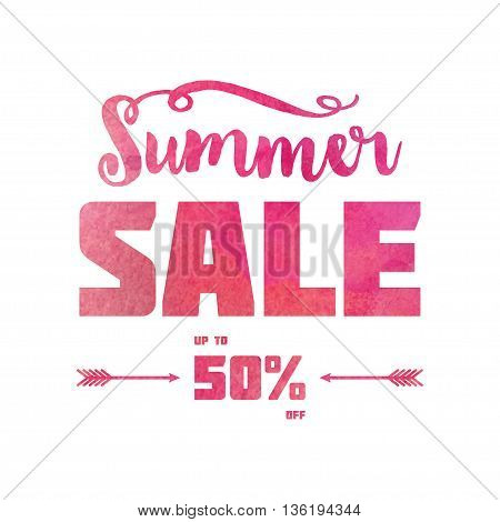Summer sale banner. Pink Watercolor decorated text against white background. Trendy lettering banner.