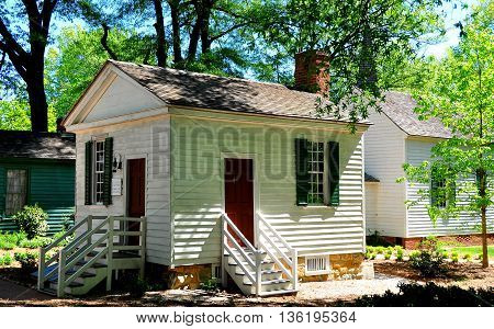 Raleigh North Carolina - April 18 2016: George Badger and James Iredell Law Office building on the grounds of historic Mordecai Plantation *